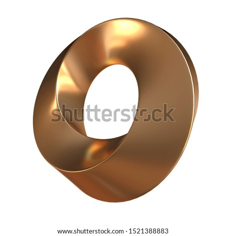 Mobius strip ring sacred geometry. Spatial figure with upturned surfaces. Optical illusion with dual circular contour. 3d render isolated on white