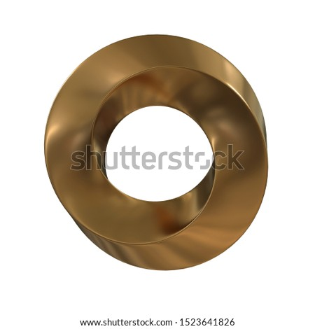 Mobius strip ring sacred geometry. Spatial figure with upturned surfaces. Optical illusion with dual circular contour. 3d render on white background