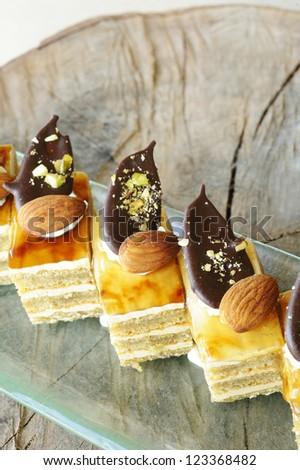mocha cake with almond and chocolate - mocha coffee cake with almond chocolate - stock photo