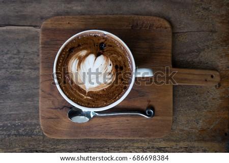 Mocha coffee on wooden table #686698384