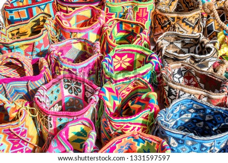 Mochilas guayu, colorful knit bags for sale in Bogota, Colombia