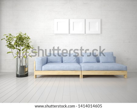 Mock up a perfect living room with an original stylish sofa and stylish hipster backdrop, 3d rendering.