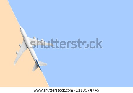 Mock up airplane flying on color pastel background.transportation travel and journey concept ideas