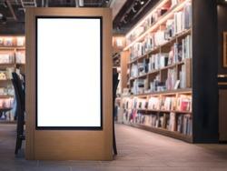 Mock up Banner Light box Bookstore interior Background