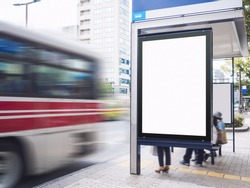 Mock up Billboard Light box at Bus Shelter outdoor street Sign display