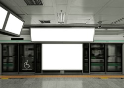Mock up blank Billboard banner Media signage Light box indoor Subway station