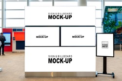 Mock up blank horizontal signboard and LED TV screen with clipping path on large board and vertical signboard on wheel stand, Empty space for insert advertising, announcement or information