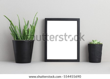 mock up blank photo frame with houseplant on bookshelf