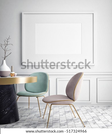mock up blank poster on the wall of dining room, 3D rendering, 3D illustration