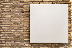 mock up blank white square canvas, small billboard for advertisement sales marketing strategy sign direction and information detail for adds, on brick wall in public area, for graphics logo and design