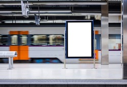 Mock up Board Banner Blank Media Advertising underground Train station