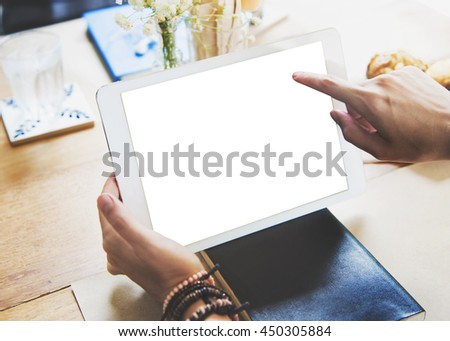 Mock up Copyspace Hands Digital Tablet Concept #450305884