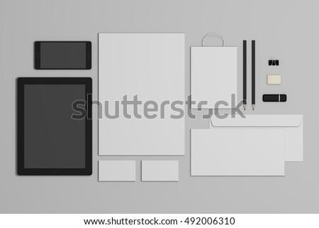 Mock-up 3d illustration business branding template.