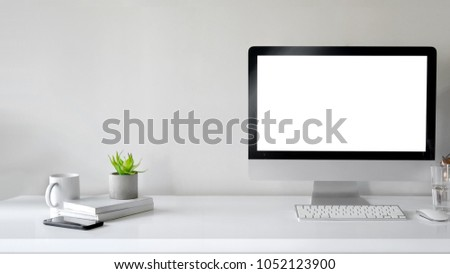 mock up desktop : Creative designer workspace mockup with desktop computer screen isolated. #1052123900