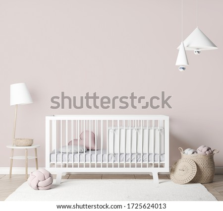 Mock Up empty frames In farmhouse Interior Background in baby room with poster frame, nursery mockup, Scandinavian Style, 3D render, 3D illustration Foto stock ©