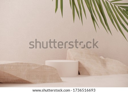 Mock up for the exhibitions,presentation of products, therapy, relaxation and health -3d render.Premium podium made of paper on pastel background with plant branches,leaves,pebbles and natural stones.