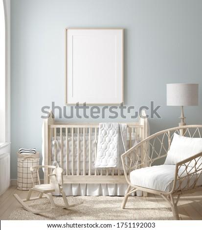 Mock up frame in boy nursery with natural wooden furniture, 3D render