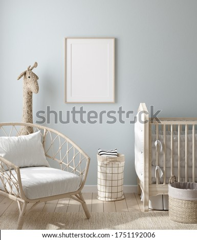 Mock up frame in boy nursery with natural wooden furniture, 3D render Stock photo ©