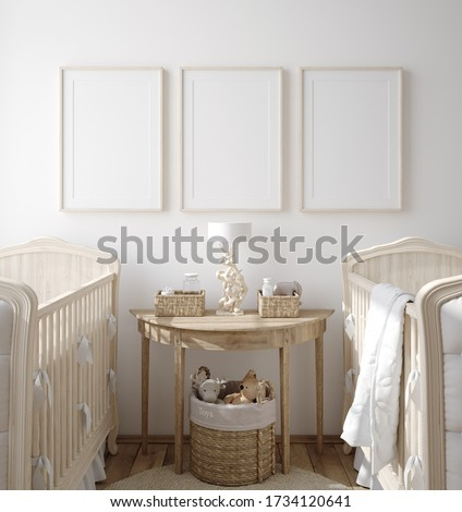 Mock up frame in children room with natural wooden furniture, Farmhouse style interior background, 3D render Stock photo ©