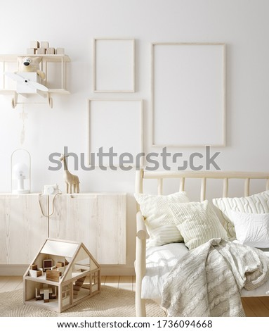 Mock up frame in children room with natural wooden furniture, Scandinavian style interior background, 3D render Сток-фото ©
