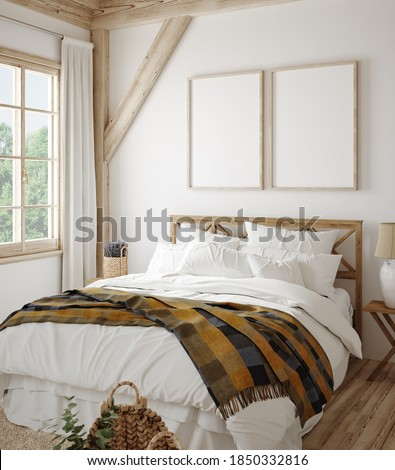 Mock up frame in country style bedroom interior, 3d render