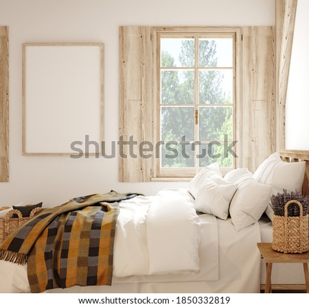 Mock up frame in country style bedroom interior, 3d render Foto stock ©