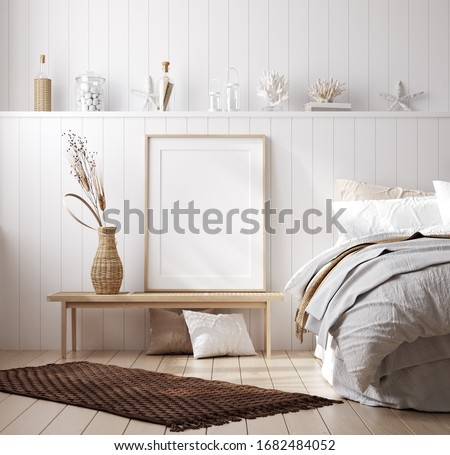 Mock up frame in cozy home interior background, coastal style bedroom, 3d render