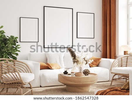 Mock up frame in cozy home interior background, coastal style living room, 3d render