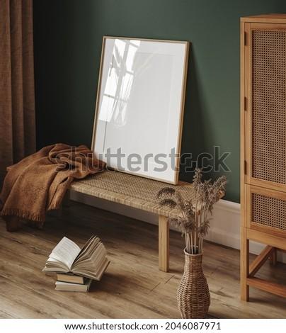 Mock up frame in cozy interior background, 3d render
