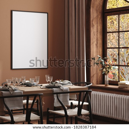 Mock up frame in cozy modern dining room interior, 3d render