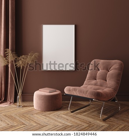 Mock-up frame in dark home interior with armchair and branch in vase, 3d render stock photo