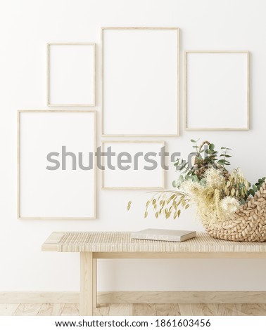 Mock up frame in home interior background, white room with natural wooden furniture, Scandi-Boho style, 3d render Stock photo ©