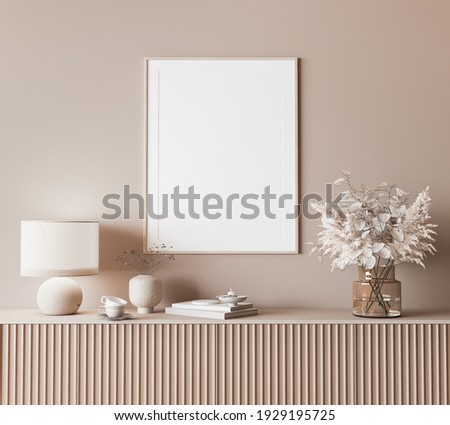 Mock up frame in modern interior background, neutral wooden living room with dried plant and home decor, 3d render, 3d illustration