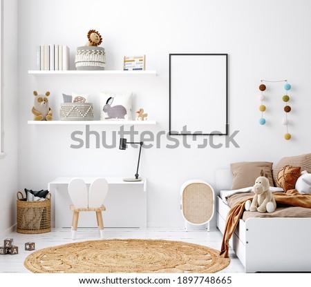 Mock up frame in white cozy children room interior background, Scandinavian style, 3D render Foto stock ©