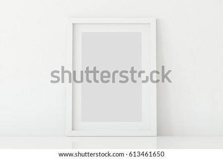 mock up frame on the table. 3d rendering, 3d illustration