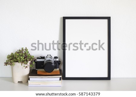 mock up frame photo  on desk #587143379