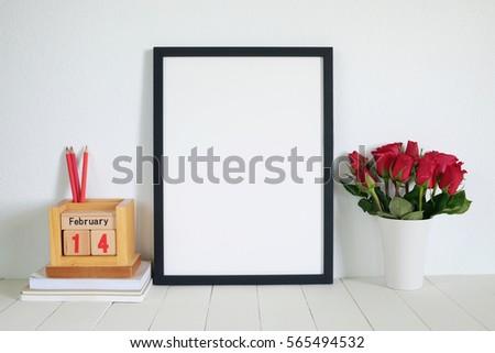 mock up frame.valentine day concept