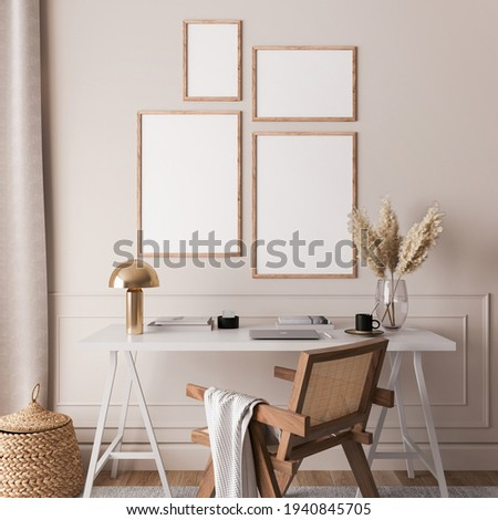 Mock up gallery wall in Scandinavian interior background, rattan chair and white desk in home office room design, 3d render, 3d illustration