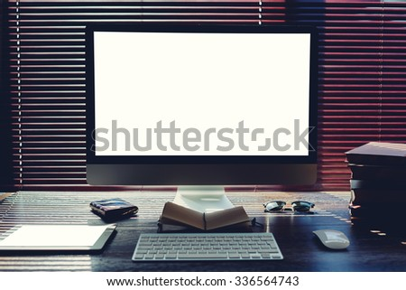 Mock up home desktop with accessories and work tools, pc computer and digital tablet with blank copy space screen, mouse and keyboard, empty touch pad and books, modern freelance work space in office