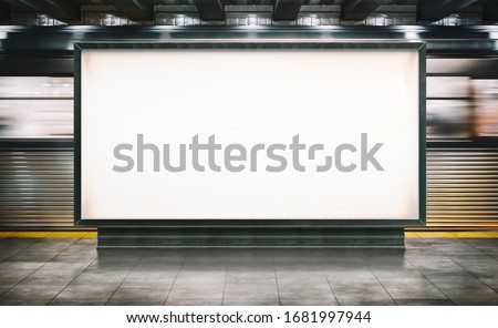 Mock up Horizontal Poster media template Ads display in NYC Train Subway Station with moving train on background. Realistic 3d render illustration