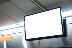 Mock up LCD Screen Blank digital tv Media display indoor public building Subway station