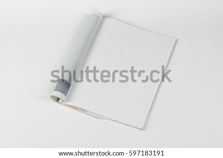 Mock-up magazine or catalog on white table. Blank page or notepad on neutral background. Blank page or notepad for mockups or simulations. #597183191