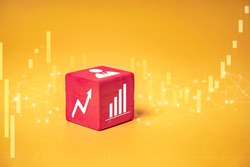 mock up miniature block concept the forex stock market exchange, representing traders reading graphs and increase in buying sales of rising stock for success in strategy, on isolated yellow background