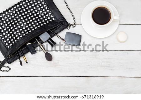 Mock up monochrome feminine accessories. Flat lay #671316919