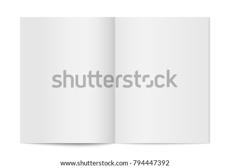 mock up of booklet isolated. Opened vertical magazine, brochure or notebook template on white background. 3d illustration for your design