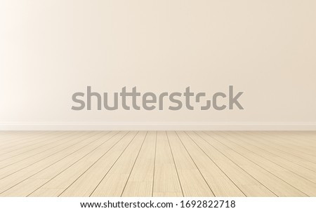 Mock-up of empty room and wood laminate floor with sun light cast the shadow on the wall,Perspective of minimal interior design. 3D rendering Foto stock ©