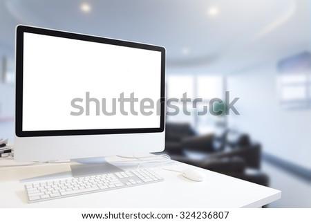 Mock up of generic design computer screen. workspace in modern in room. Copy space
