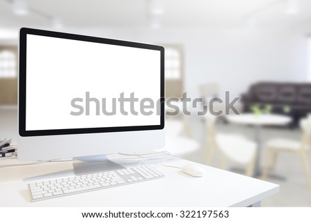 Mock up of generic design computer screen. workspace in modern in room with table and chair. Copy space