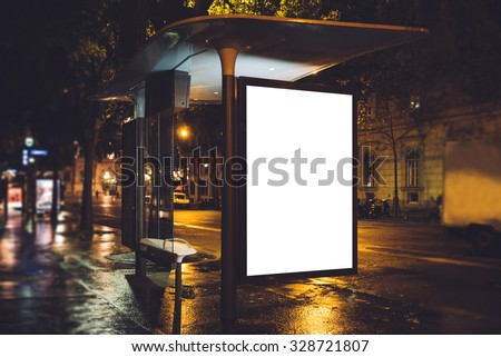 Mock up of light box on the bus stop