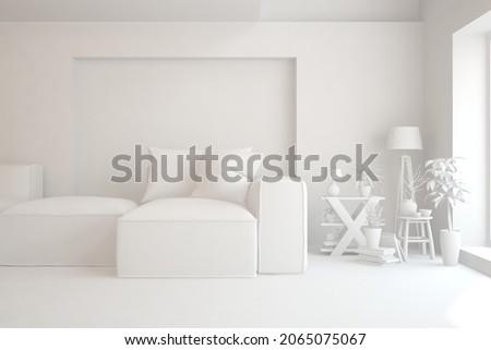 Mock up of minimalist living room in white color with sofa. Scandinavian interior design. 3D illustration